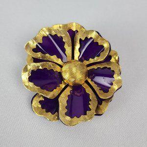 Vintage Gold & Purple Enamel Brooch